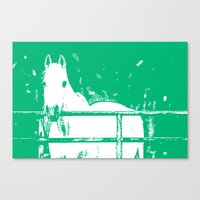 White Horse Forest Green Canvas Print