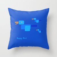 Happy Bird-Blue Throw Pillow