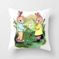 Happy Birthday Little Rabbit Throw Pillow