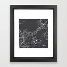 Madison Map, USA - Gray Framed Art Print
