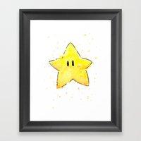 Invincibility Star Mario Art Framed Art Print