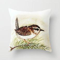 wren - watercolor  Throw Pillow