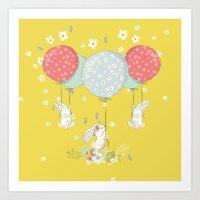 flying bunny Art Print