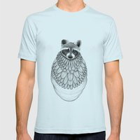 Raccoon- Feathered Mens Fitted Tee Light Blue SMALL