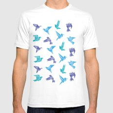 ORIGAMI BIRDS White Mens Fitted Tee SMALL