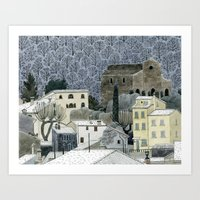 Winter Town Art Print