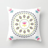 Suzani inspired floral blue 4 Throw Pillow