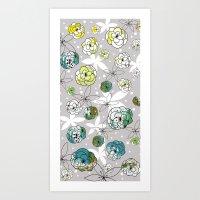 Grey Floral Art Print