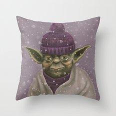 Christmas Yoda (fiolet) Throw Pillow