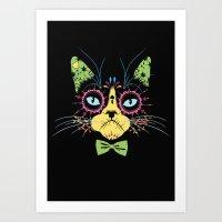 Sugar Skull Cat Art Print