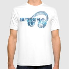 Can you hear the  beat? SMALL White Mens Fitted Tee