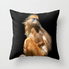 Banded Leaf Monkey Howletts Throw Pillow