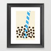 Milk Tea W/ Boba & Lyche… Framed Art Print