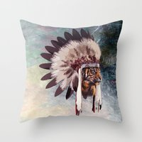 Tiger in war bonnet Throw Pillow