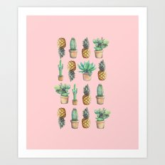 cactus and pineapples Art Print