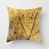 Throw Pillow featuring Yellow Leaf With Drops by Bonnie Martin