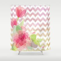 Chevron Flowers Shower Curtain