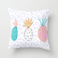 Pineapple. Illustration, print, pattern, fruit, design, fun, Throw Pillow