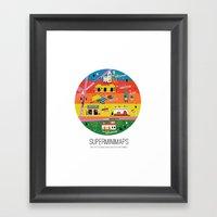 Minimap Ciudad De Méxic… Framed Art Print