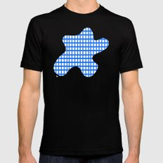 LINES in BLUE Mens Fitted Tee Black SMALL