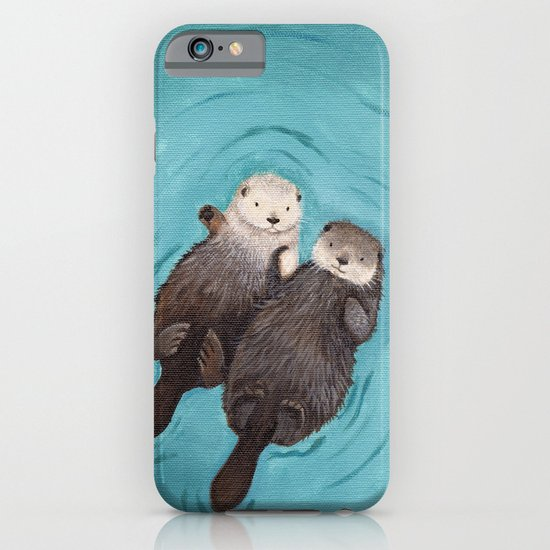 Otterly Romantic - Otters Holding Hands iPhone & iPod Case
