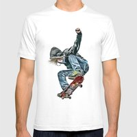 Skateboarder Mens Fitted Tee White SMALL
