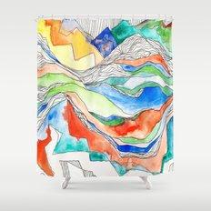 Technicolor Mountains Shower Curtain