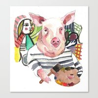 Canvas Print featuring Pablo Pigcasso by Becca Kallem