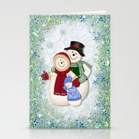 Snowman And Family Glitt… Stationery Cards