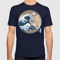 The Great Wave of Republic City Mens Fitted Tee Navy SMALL