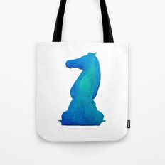 Chess Knight Watercolor Tote Bag