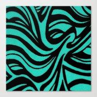 Blue & Black Waves Canvas Print