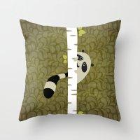 A shy raccoon Throw Pillow