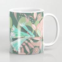 Hummingbird leaf tangle, green pale pink Mug