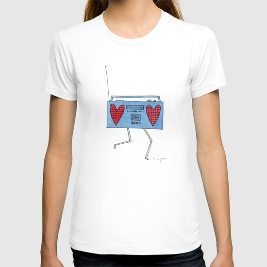 boombox with hearts T-shirt
