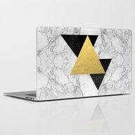 Marble Tri Black & Gold … Laptop & iPad Skin
