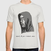 Mr Robot Mens Fitted Tee Silver SMALL