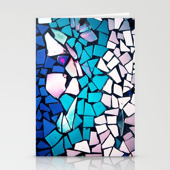 Turquoise and blue mosaic-(photograph) Stationery Card