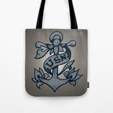 USN Anchor American Traditional Tattoo Design (Blue) Tote Bag