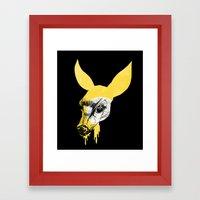 Fawn in Headlight Framed Art Print