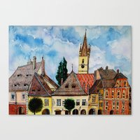 Evangelical Church Tower from Sibiu Transylvania Canvas Print