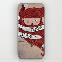 Bearded woman iPhone & iPod Skin