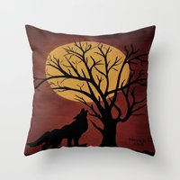 Full Moon/red Throw Pillow