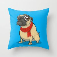Pug with a scarf Throw Pillow