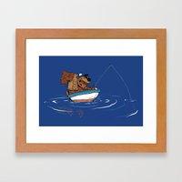 Bear Fishing Framed Art Print
