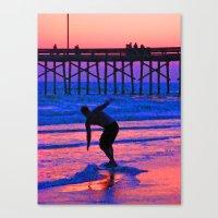 Neon Skimboarder Canvas Print