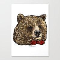 Bow Tie Bear Canvas Print
