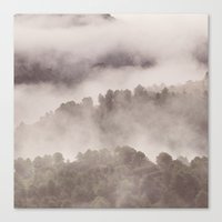 Foggy morning. Adventure at the mountains Canvas Print