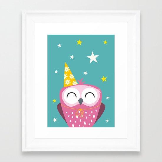 Party Owl Framed Art Print