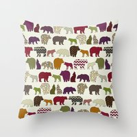 bear wolf geo party Throw Pillow